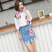 Fairy Dreams 2 Piece Set Women White Shirt Top And Bule Denim Mini Skirt Flowers Print 2017 Spring Summer Suit Fashion Clothing