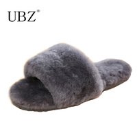 Natural Sheepskin Slippers Fashion Winter Open Toe Women Indoor Slippers Fur Warm High Quality Wool Soft