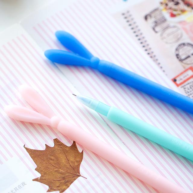 Cute Luminous Bunny Design Gel Pens 4 pcs Set