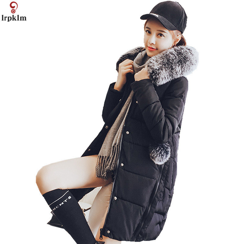 2018 women winter long coat solid plus size cotton down jacket hooded fur collar coat thicken warm long pink jacket LZ869