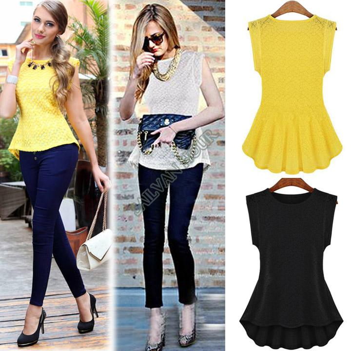 e3ca829859c9b Women Retro Lace Peplum Lady Frill Blouses Lady Bodycon Tops Short-Sleeved Vintage  Blouse  012 SV002434