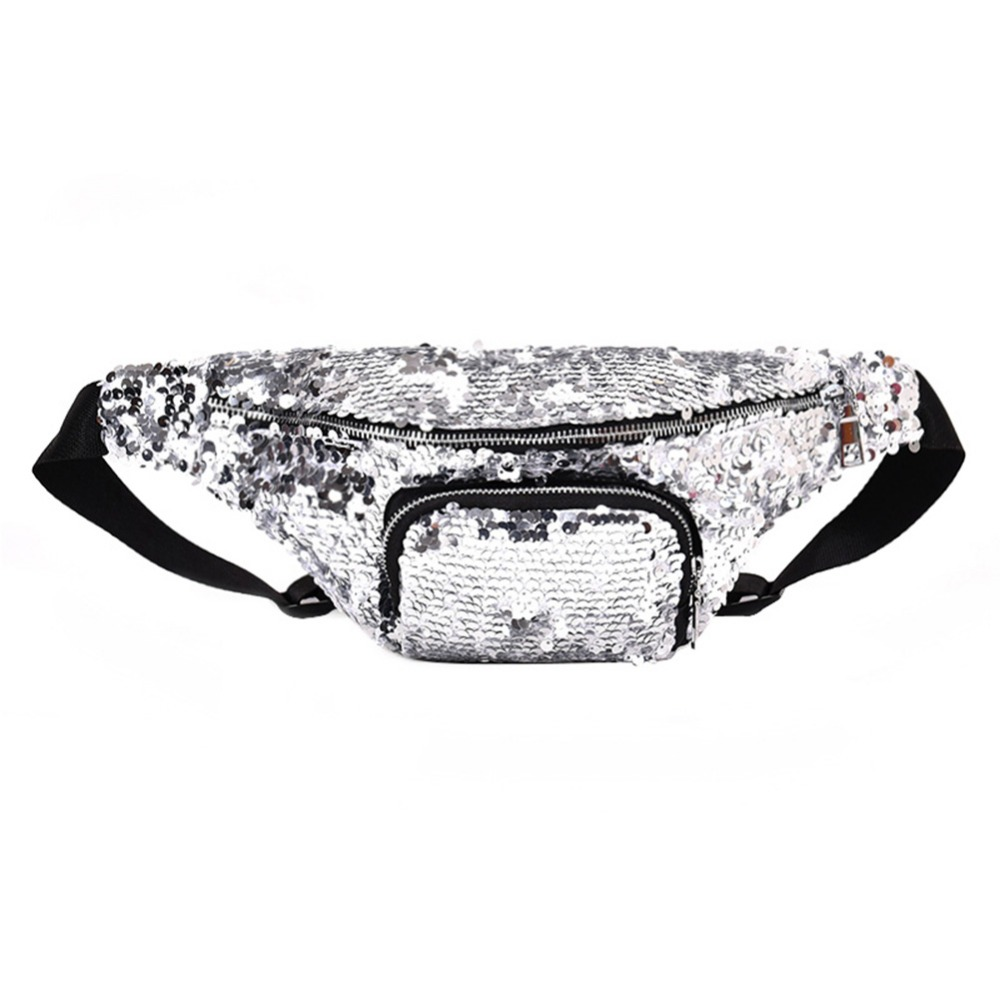 Fashion Women Sequins Waist Bags Leather Crossbody Shiny Leather Fanny Packs Ladies Bum Bag