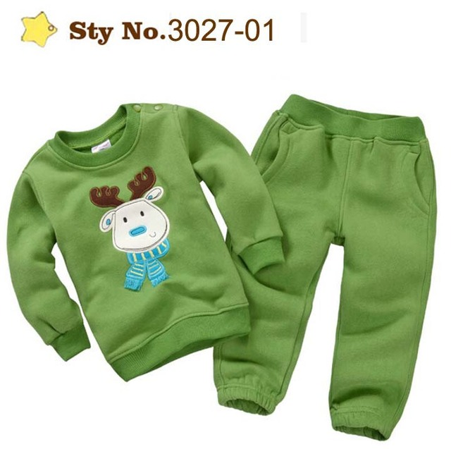New Animal Embroidery Children's Clothing Set Warm Thick Brushed Fleece Boys Casual Suits Girls Sweatshirt + Pants Kids Clothes