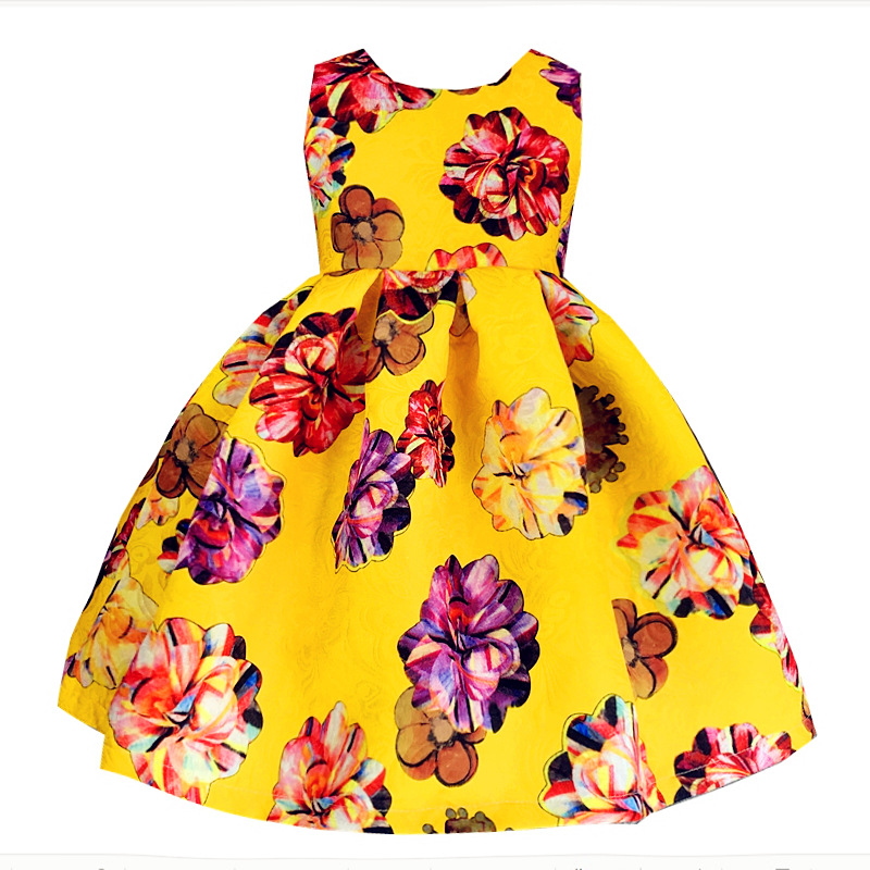 ФОТО New dresses for girls 2017 spring dresses for children silk large flowers tutu princess  for party and wedding Baby Clothes