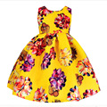 New dresses for girls 2017 spring dresses for children silk large flowers tutu princess  for party and wedding Baby Clothes