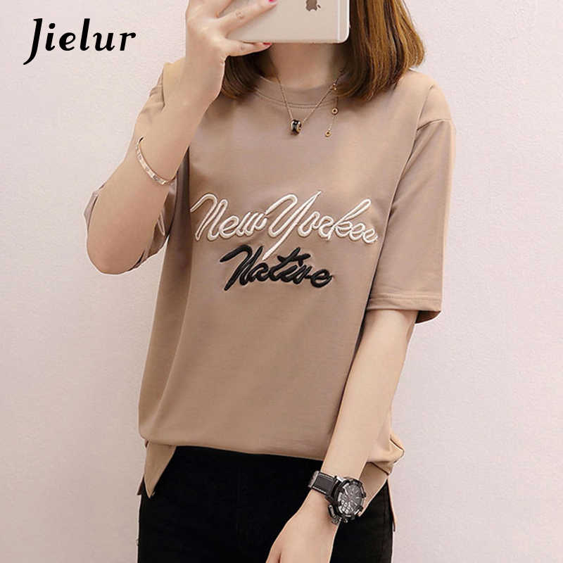 9db287acaef7af Jielur 5 Color Loose Letter Embroidery T Shirts Women Slim Simple White Tops  Female Summer Casual