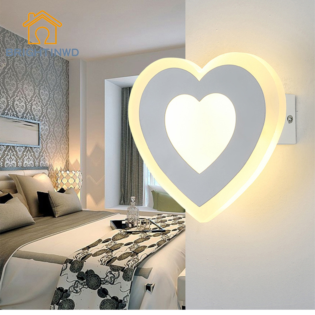 BRIGHTINWD LED Modern Minimalist Wall Lamp Corridor Bedroom Aisle Acrylic Energy-Saving Wall Lamp m 2016 newest led acrylic wall lamp real energy saving and environmental protection l26 w13 exquisite and delicate for bedroom