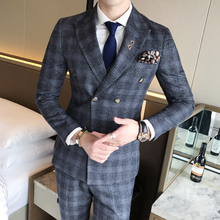 Mens Suit Vest With Pant 3 Piece Double Breasted Chinese Style Retro Plaid Slim Fitted Male Tuxedo Wedding Suits for Men 2019