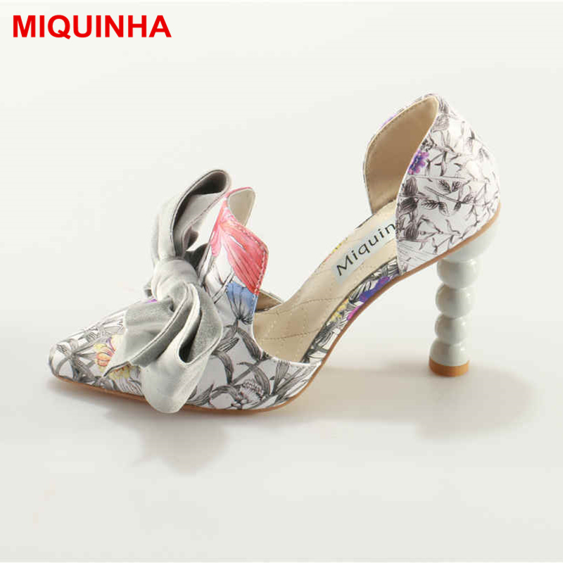MIQUINHA Pointed Toe Women Pumps Flower Pattern Design Stilleto Butterfly Knot Lady Super Star Shoes High Heel Zapatos Mujer high quality 2size butterfly flower forming follow board easy magic making template mould for fabric flower design tool