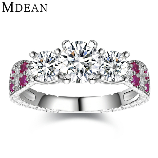 MDEAN 925 esterlina sólida anel de prata rosa CZ diamante anéis de noivado para as mulheres de jóias de casamento cor de rosa de prata mulheres anéis MSR486
