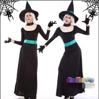 Halloween Devil costume Masquerade Queen witch girls cosplay black Broom the witch costume dress+hat+gloves