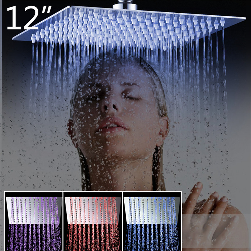 YANKSMART 3 Colors LED Perfect Luxury Hot Sale LED Square Rain 12 Shower Head Wall Ceiling Mounted Top Over-head Shower Sprayer luxury led color changing golden brass rain round shower head wall mounted over head sprayer