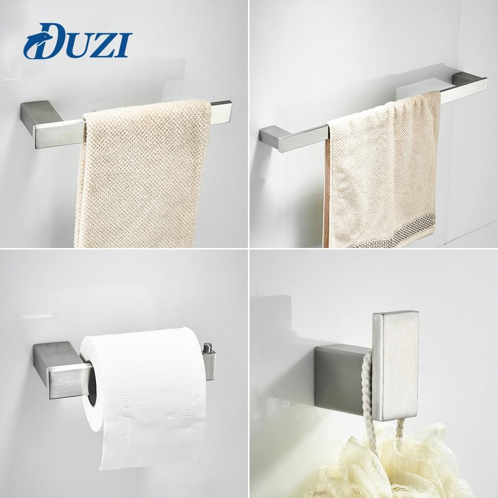 duzi 4 piece set bath hardware sets 304 stainless steel bathroom accessories set single towel. Black Bedroom Furniture Sets. Home Design Ideas