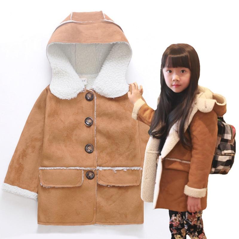 2017 New Children Outerwear Winter Cotton Flax Korean Boys Girls Jackets Buckskin Lamb' Wool Thick Hooded Coat Parkas Kids 2-7T цена