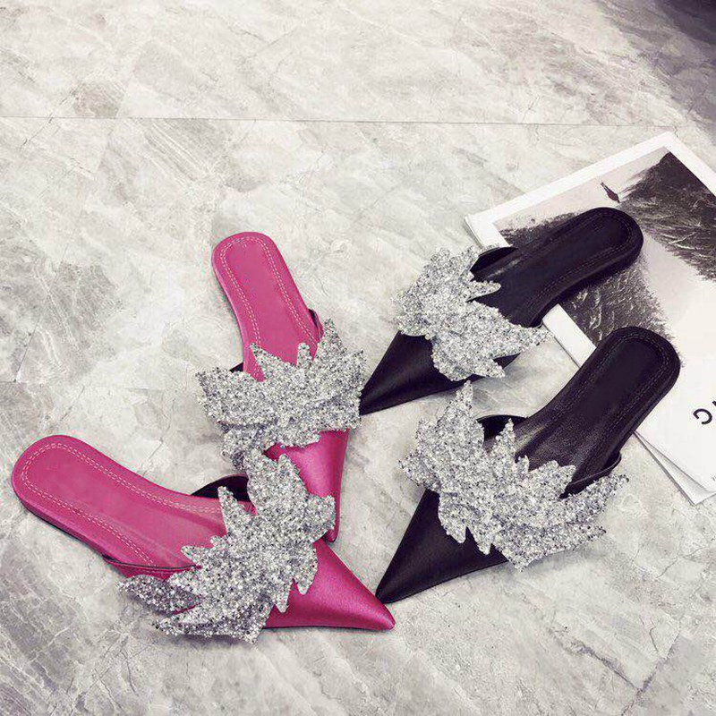 Bailehou Rhinestone Women Slippers Shallow Slip On Mules Pointed Toe Low Heel Ladies Shoes Bow Knot Flat Sandals Lazy Loafers шина sava eskimo hp 205 65 r15 94h зима н ш