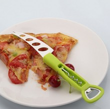 1PC green FDA PP handle with Stainless Steel cheese knife with fork cheese tools cheese slicer KX 185