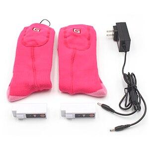 Носки с электрическим подогревом теплые носки с перезаряжаемой батареей 3,7 вольт эластичные теплые носки для здоровья для помещений и активного отдыха - Цвет: Pink