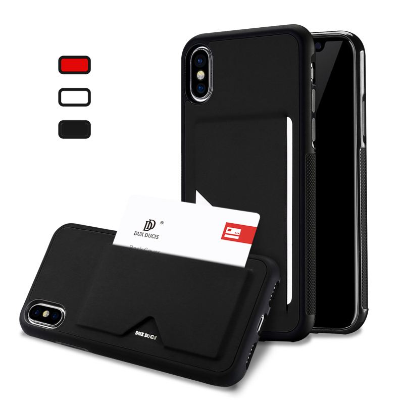 Galleria fotografica Fashion X Card Holder Back Case Cover For iPhone X Luxury Leather Shockproof Non-slip TPU Silicone Phone Case For Apple iPhone X