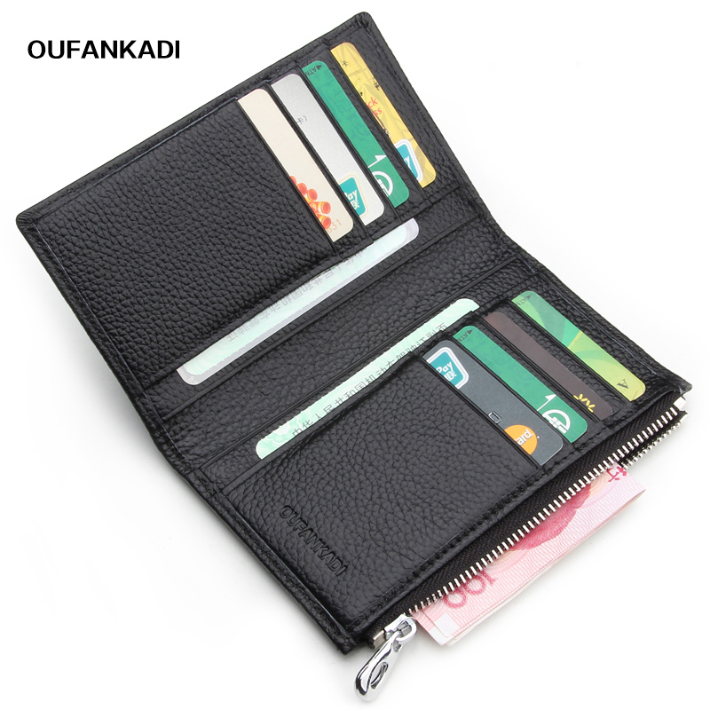 Oufankadi Slim Genuine Leather ID/Credit Card Holder Zipper Bifold ...