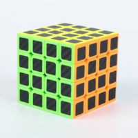 4x4x4 Carbon Fiber Sticker Rubik Cube Speed Smooth Magic Fidget Cubes Profissional Competition Magic Cube For