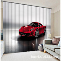 2017 red car Luxury 3D Blackout Window Curtains for kids For Bedding room Living room Hotel Drapes Cortinas Para