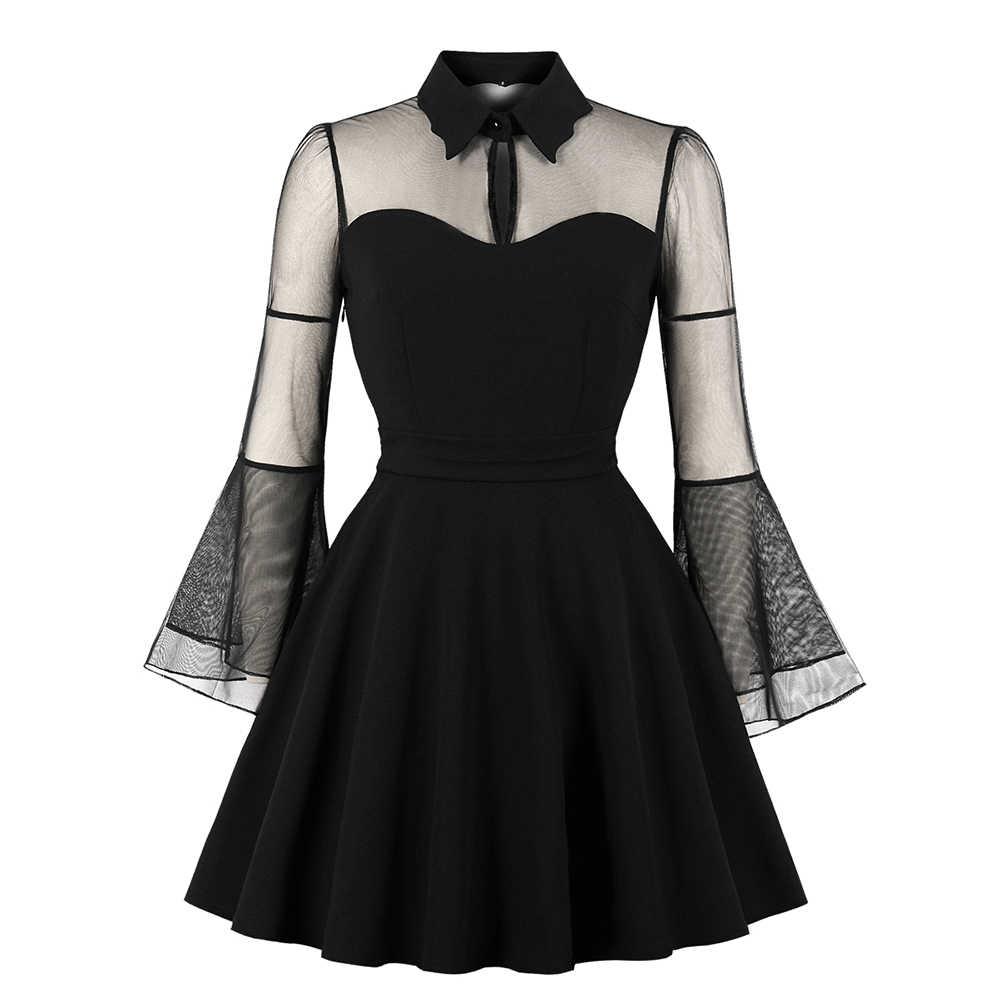 Вечернее платье с фатиновой юбкой в готическом стиле черного, бордового, красного, зеленого цвета для вечеринки и свидания, женское платье весна-лето размера плюс, короткие кружевные сетчатые платья