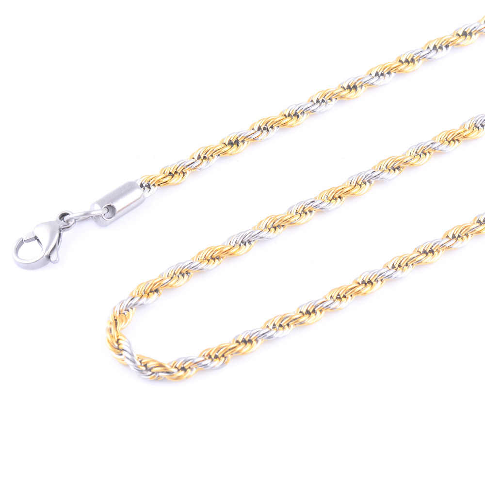 0ed26d201d4ff Free Shipping Silver Gold Tone Rope Chain High Quality Stainless Steel  Necklace Rope Chain For Fashion Women Men Jewelry Gift