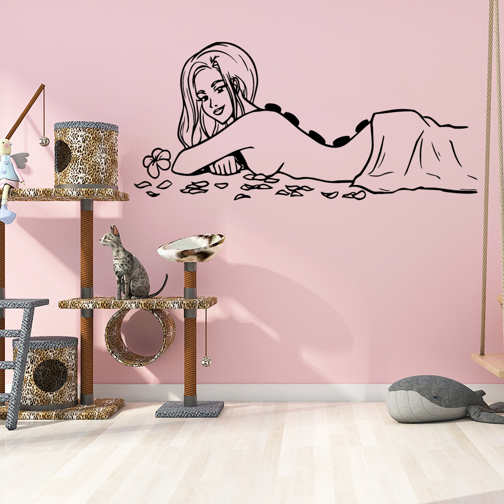 3D Naked Woman Stickers Spa Massage Waterproof Wall Decals For Spa Room Vinyl Wall Sticker Mural Decor Vinilo Pared