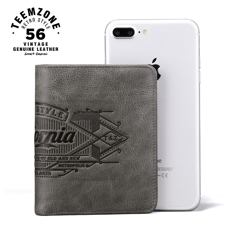 teemzone California Style Mens Top Cowhide Bifold Vertical Wallet Credit Card Holder Cash Receipt Holder ID Window Wallet Q802 never leather badge holder business card holder neck lanyards for id cards waterproof antimagnetic card sets school supplies