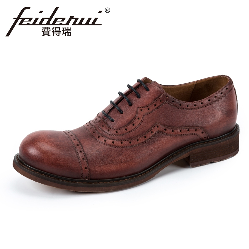 New Arrival Genuine Cow Leather Men's Handmade Oxfords Round Toe Lace-up Man Casual Flats British Designer Brogue Shoes KUD183 чехлы для телефонов skinbox flip slim skinbox alcatel 4024d pixi