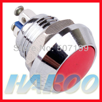 1pcs packing HABOO 12mm metal push button switch 1NO anti-vandal waterproof switch copper plated nickel shipping free