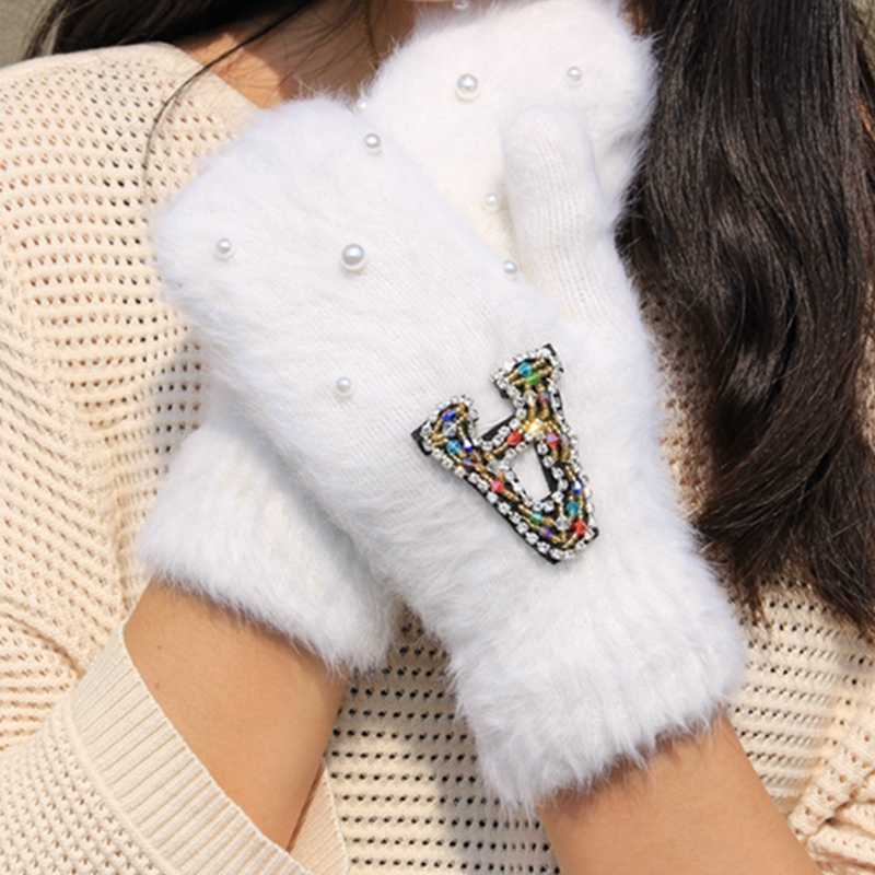 Femme Women Winter Gloves Colorful Crystal Decoration Girls Rabbit Fur Gloves Female Warm Soft Women's Mitten Guantes Mujer