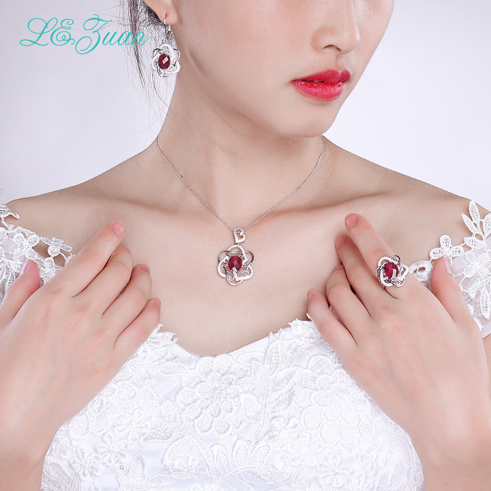 S925 Sterling Silver Necklace With 5ct Red stone Luxury Pendant Fine Jewelry For Women