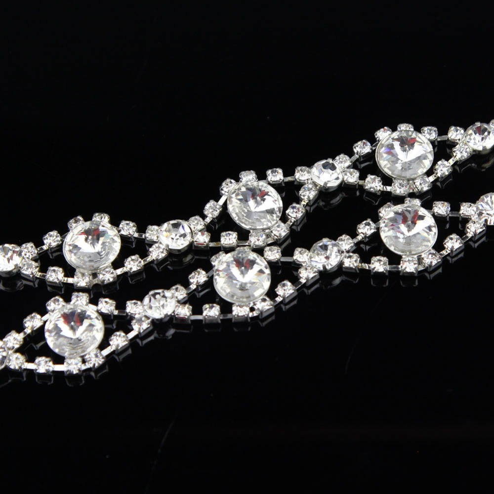 100Yards 18mm Applique Clear Crystal Rhinestone Silver Chain Sew On Rhinestone Wedding Cake Decoration