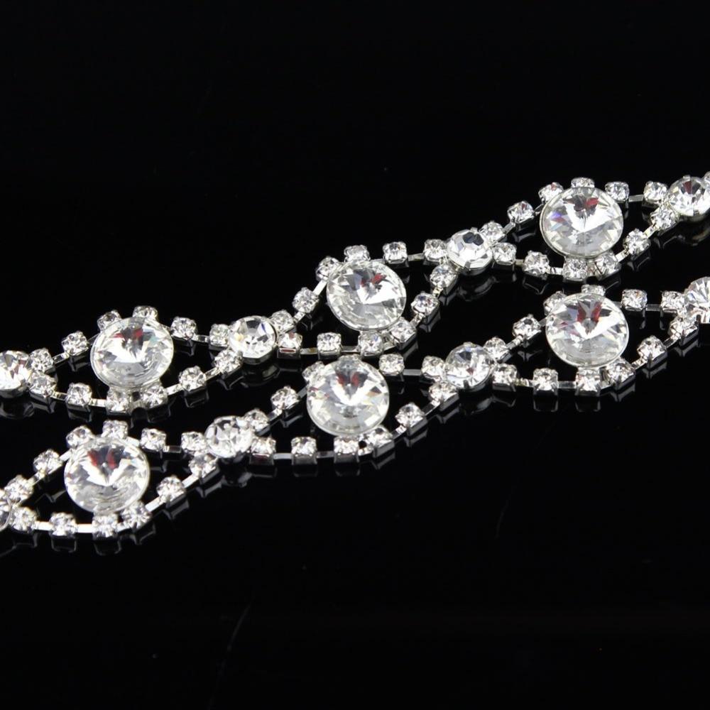 10Yards 18mm Applique Clear Crystal Rhinestone Silver Chain Sew On Rhinestone Wedding Cake Decoration
