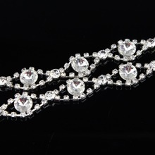 10Yards 18mm Applique Clear Crystal Rhinestone Silver Chain Sew On Wedding Cake Decoration