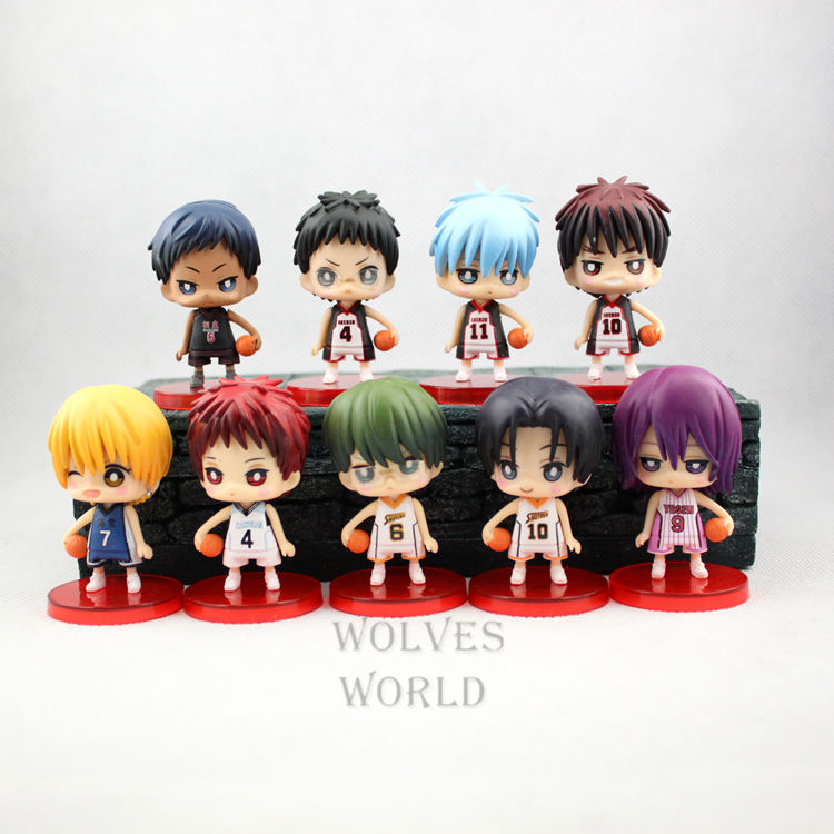 ALEN 9pcs set Kuroko No Basket Q Version Figures with Basketball 7Cm Japan Anime Pvc Action Figures Kids Hot Toys for Children B 1
