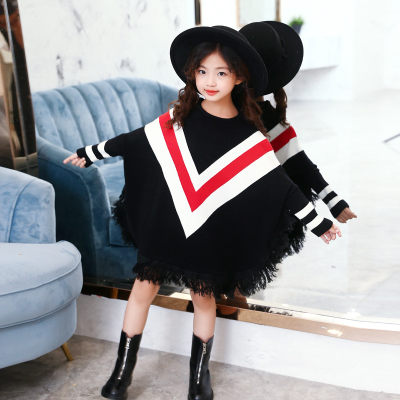 Girls Winter Clothes Tassel Batwing Sweater Underwear Baby Girls Dress Children Cothing T Shirt Undershirt 4-13T Kids Clothes женская футболка other 2015 3d loose batwing harajuku tshirt t a50