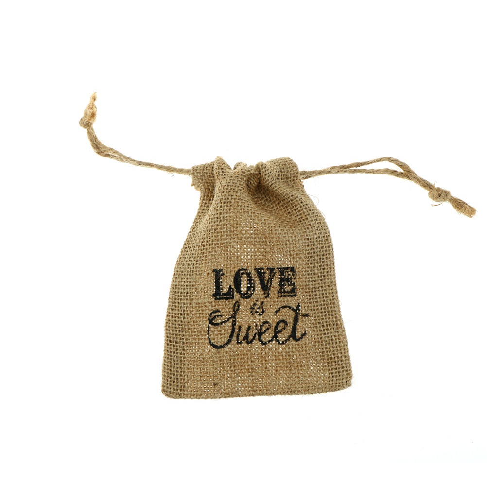 1PCS Love Is Sweet Printed Burlap Bags Wedding Return Favor Gifts ...