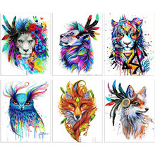 Full Square Drill 5D DIY Diamond Painting animal colorful paintings 3D Embroidery Cross Stitch  Home Decor