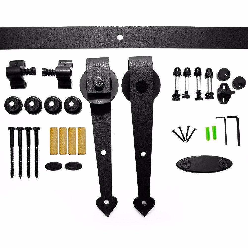 LWZH 14FT/15FT Black Carbon Steel Sliding Closet Door Heart Shaped Wood Sliding Hardware Rail Track Kits for Double Door