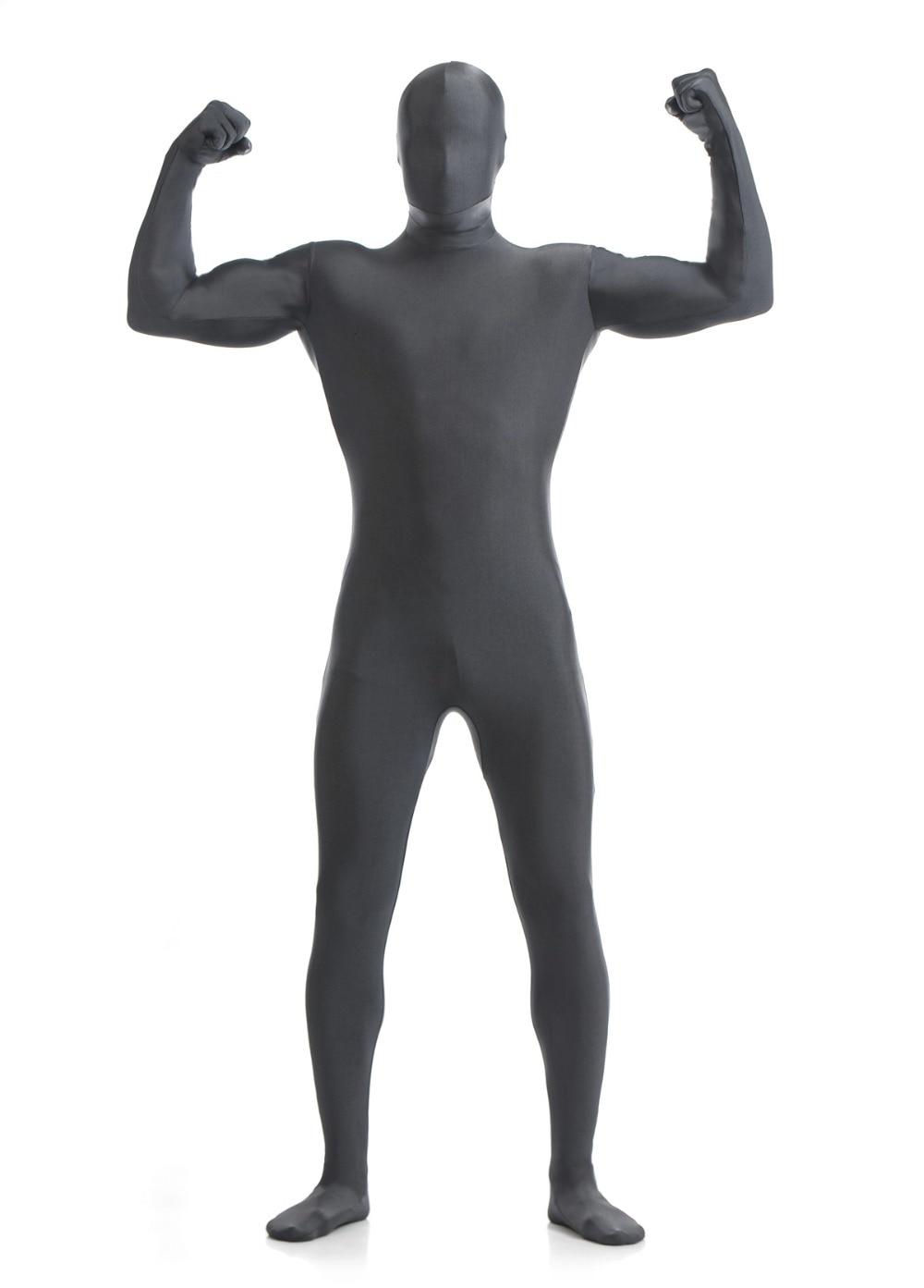 Dark Gray  Lycra Spandex Fullbody Zentai Suit Catsuit Freeshipping Halloween Cosplay Costume