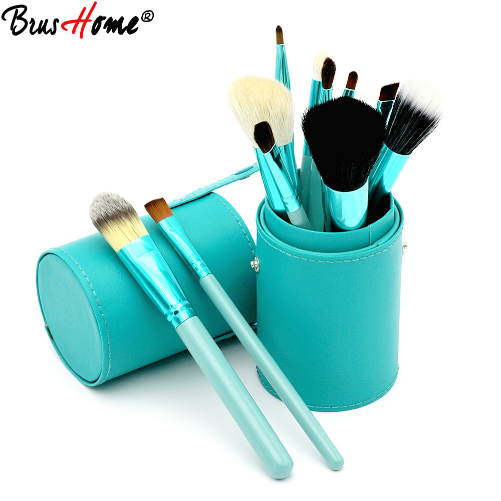 New 12pcs Professional Beauty Makeup Brush Set Contour Blending Powder Liquid Foundation Make up Brushes with PU Cup Holder 2017 hot sale new arrive famous body tattoo artist brush no 10 make up contour foundation makeup brushes