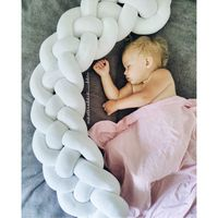OLOEY 220cm Baby Bed Bumper Safety Crib Protector Four Ply Knot Handmade Long Knotted Braid Weaving Plush Baby Infant Room Decor