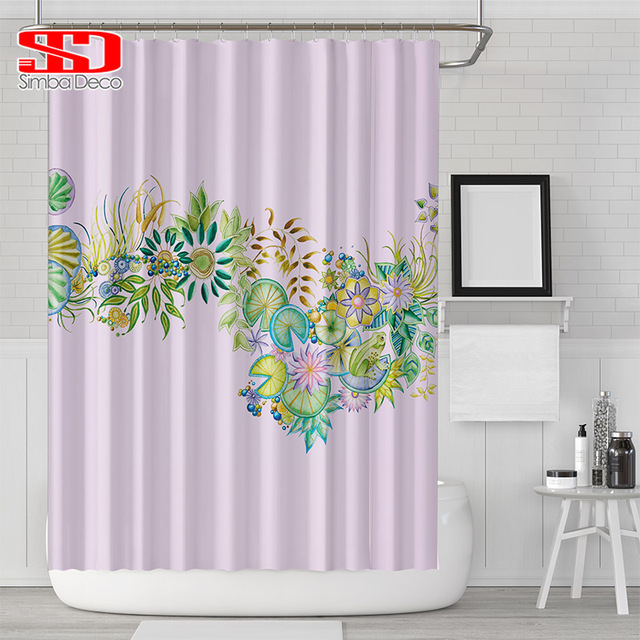 Printing Flowers 3D Shower Curtains Simple Pink Plants Bath Screens Bathtub  Waterproof Fabric For Curtains Blind