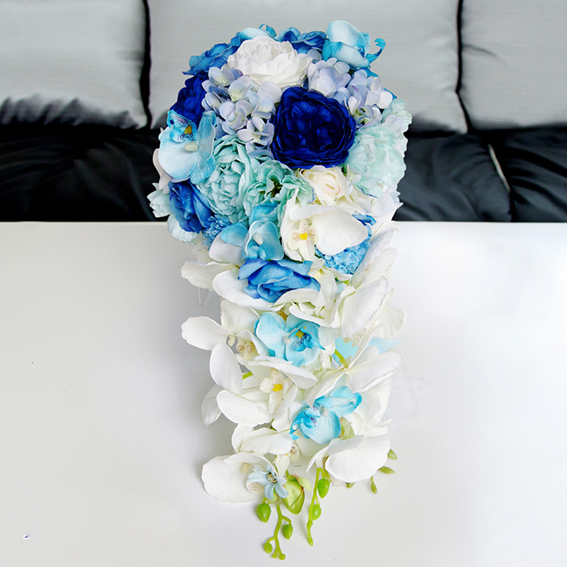 Wedding Bouquet Flowers Prices: Waterfall Bridal Bouquest Royal Blue Wedding Bouquet For