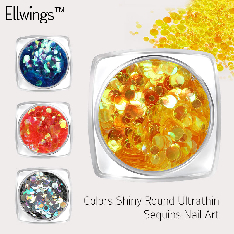 Ellwings Laser Round Nail Sequins Mix Size Paillettes for Nails Chameleon Effect Sparkle Flakes Nail Glitter Nail Design