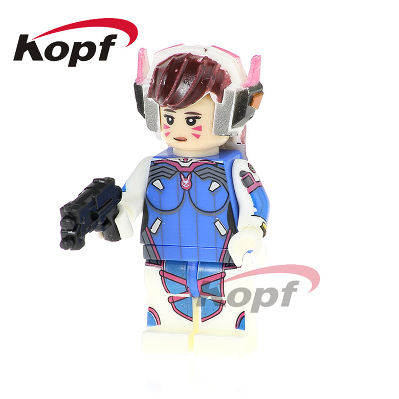 50Pcs PG1160 Super Heroes D.VA Widowmaker Jamison Fawkes Ana Amari Building Blocks Learning Bricks Action Gift Toys Childrens