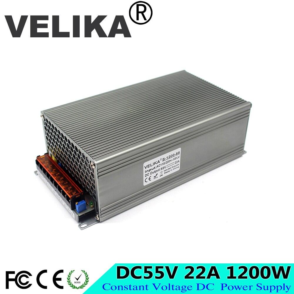 Single Outpt 55V DC Power Supply Switching 22A 1200W Driver Transformers 110V 220V AC to DC55V