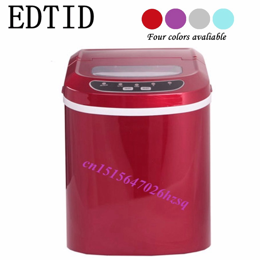EDTID Portable Automatic ice Maker, Household bullet round ice make machine for family, small bar,coffee shop 12kgs/24H home intelligent fully automatic american style coffee machine drip type small is grinding ice cream teapot one machine